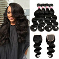 Grade 7A Brazilian Virgin Hair With Closure 3/4 Bundles With Closure Human Hair Weave Brazilian Body Wave With Closure Lace Base