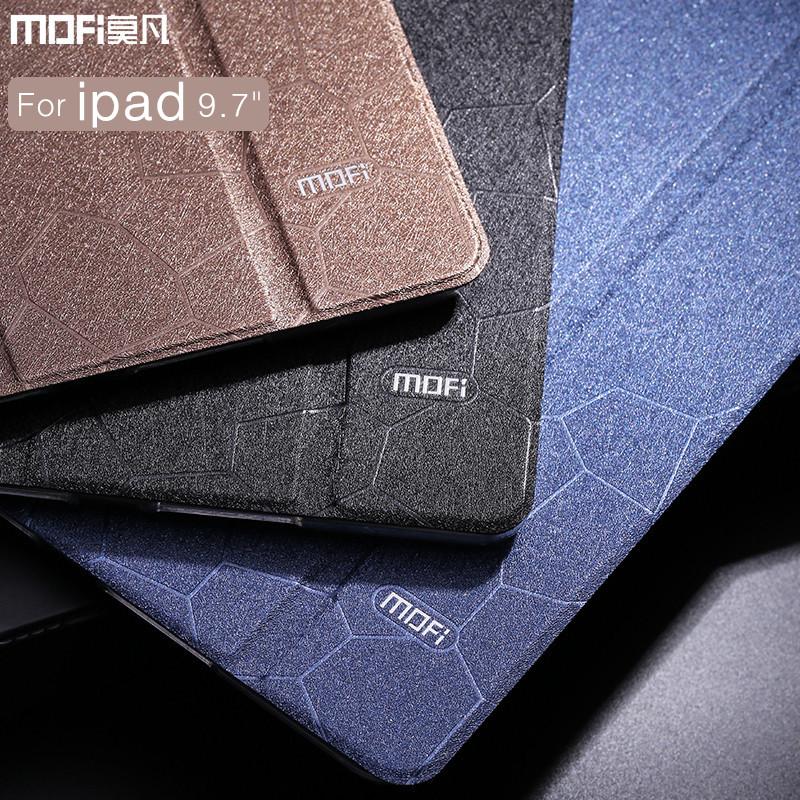 For iPad case 9.7 model new tablet MOFi leather for iPad 2017 new 9.7 inch case flip wake up sleep transparent hard stand luxury case for funda ipad pro 12 9 luxury business leather case tablet 12 9 inch wake up hand belt holder stand flip bags alabasta