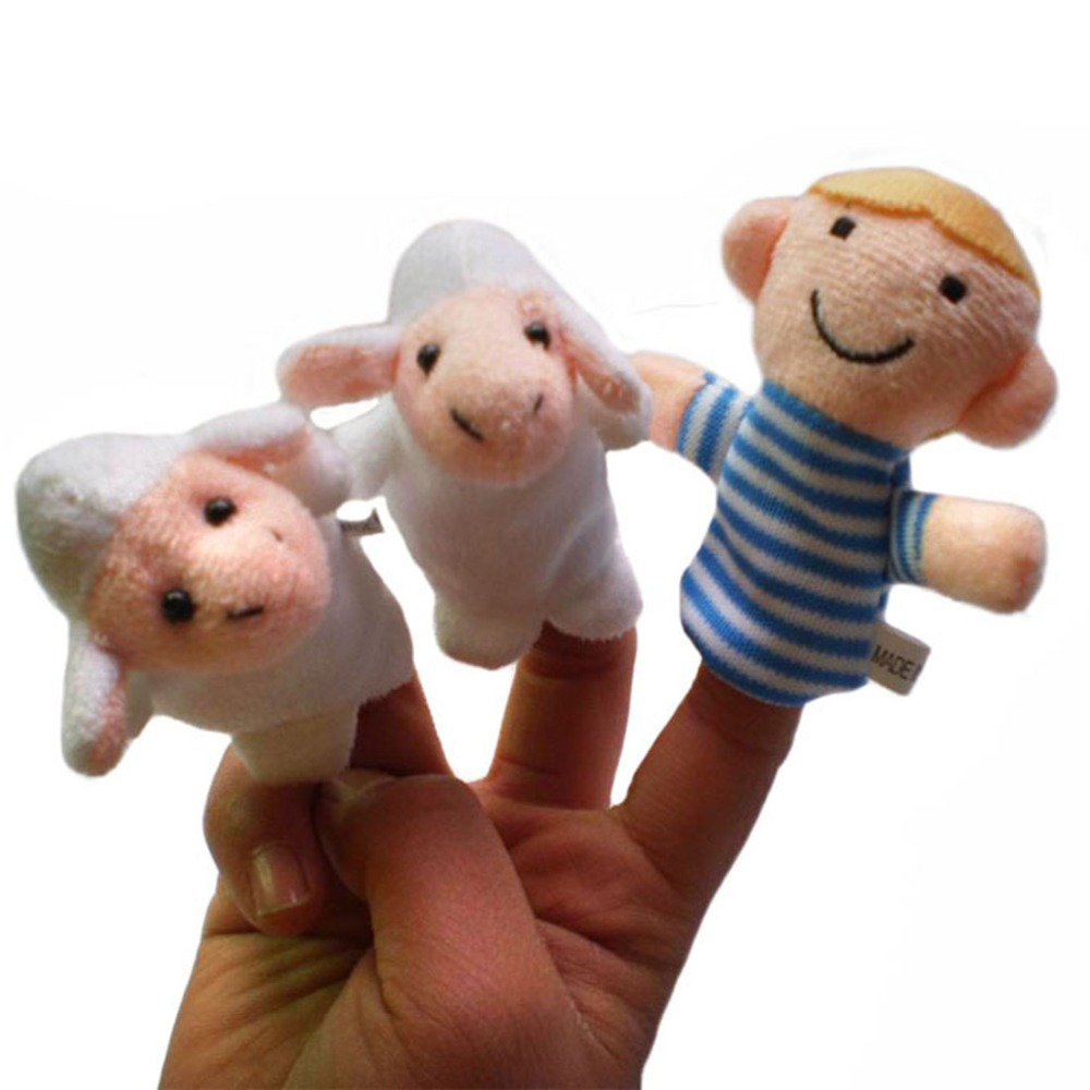 Surwish 10PCS/Set Aesops Fables The Boy Who Cried Wolf Finger Puppets Storytelling Doll Kids Children Baby Educational Toys