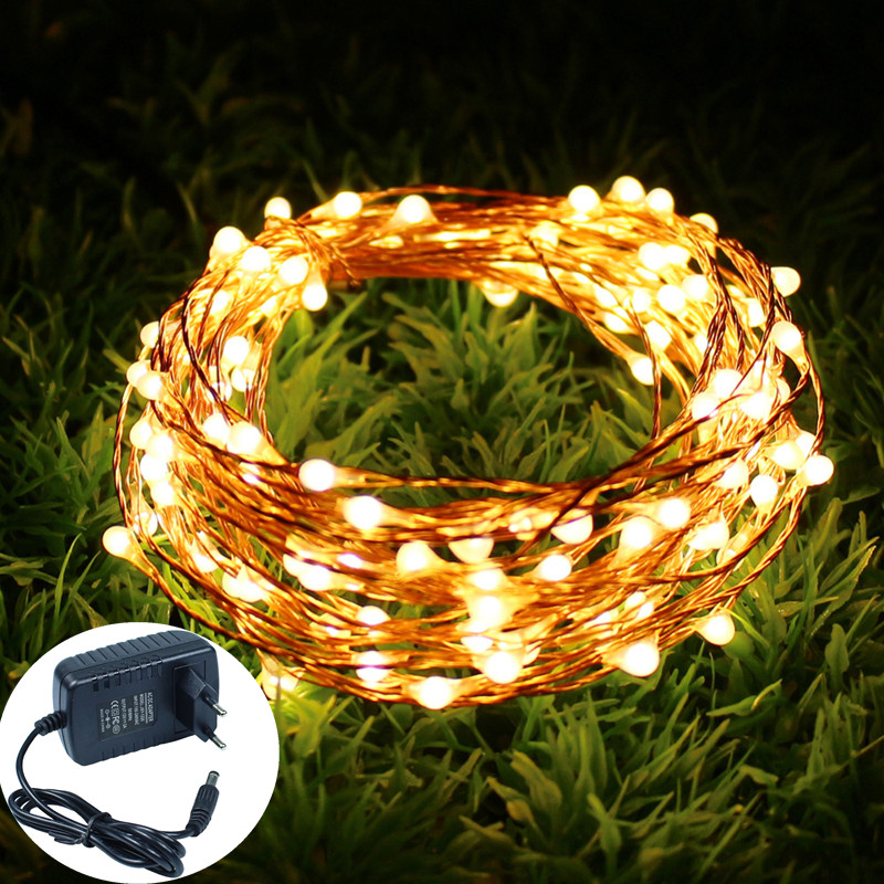 12 V 10 M 20 M 30 M 50 m vacaciones Cadena de luces LED de alambre de cobre cuerda estrellada impermeable Flexible luces de hadas fiesta Garde + adaptador de corriente