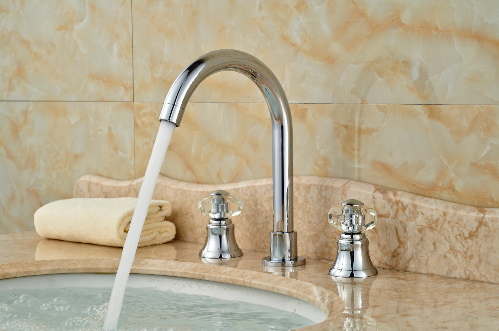 Widespread Chrome Brass Bathroom Basin Faucet Crystal Handles Vanity Sink Mixer Tap hot and cold mixer tap