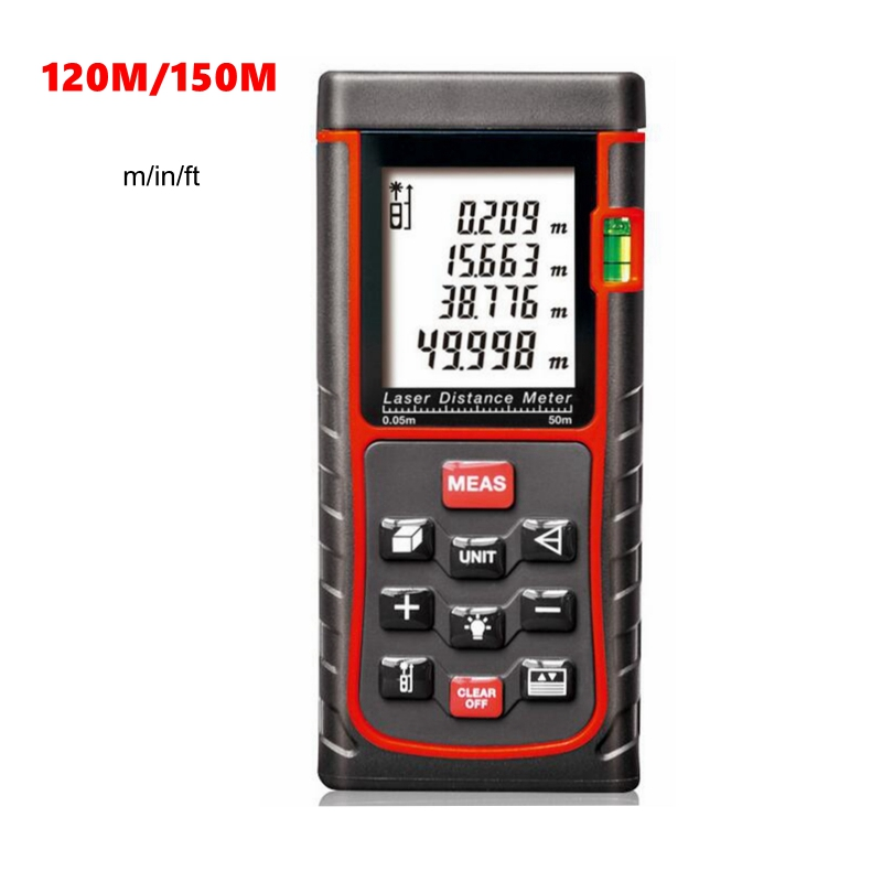 120m 150m Digital Laser Distance Meter Rangefinder m/in/ft  Area Length Volume Tester Auto Manual Power Off LCD Electronic social housing in glasgow volume 2