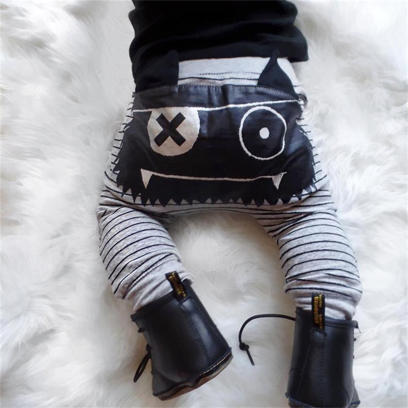 Monster Baby Boy Clothes Brand Stripe Bottoms Harem Pants Leggings Trousers Print Cute Striped Kids Girl Boy Pant Baby Clothing