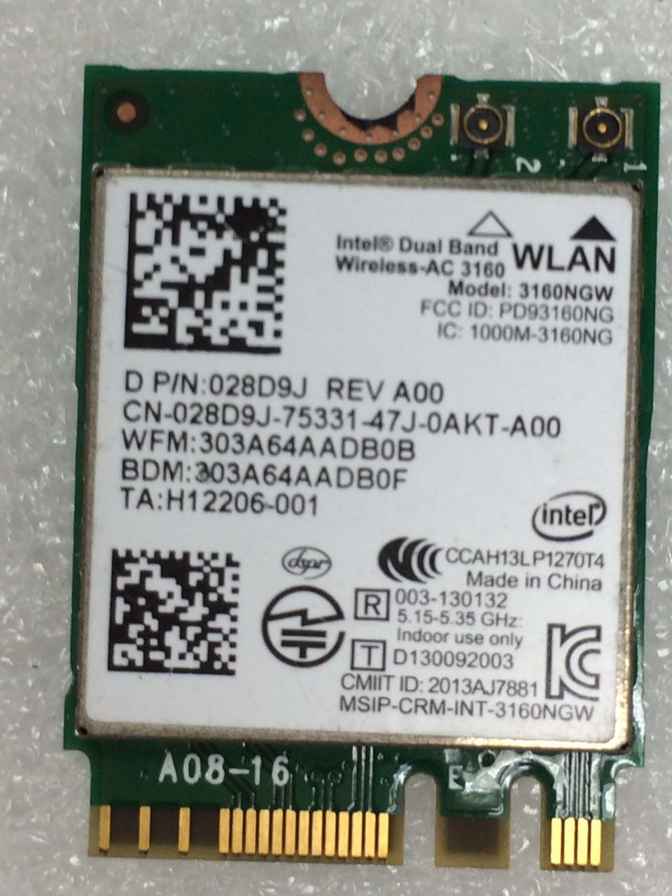 For Intel Dual Band Wireless-AC 3160NGW AC3160  3160NGWAC D/PN:028D9J NGFF Wlan+BT4.0 433Mbps  Wireless  Card For DELL Laptop