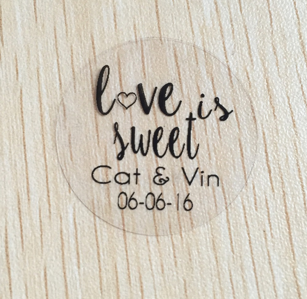 90pcs 3cm custom Personalized clear Wedding love is sweet Invitation Envelope Seal Stickers white text label ...