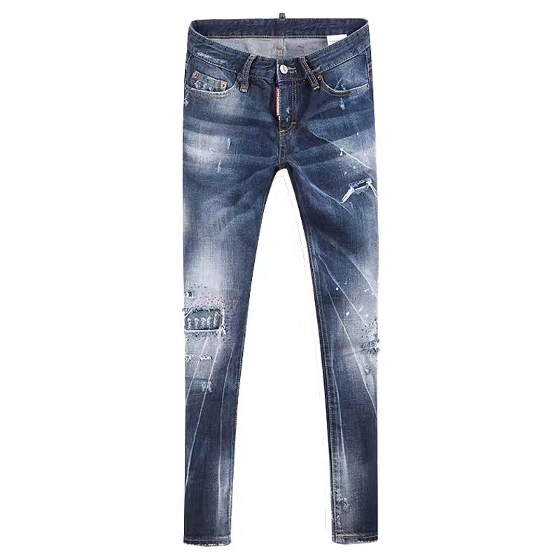 2017 New Designer Brand Women's Jeans Patchwork Stretch Slim Fit Ripped Denim Pants Skinny Jeans Woman Mid Waist Jeans Femme Top-in Jeans from Women's Clothing    1