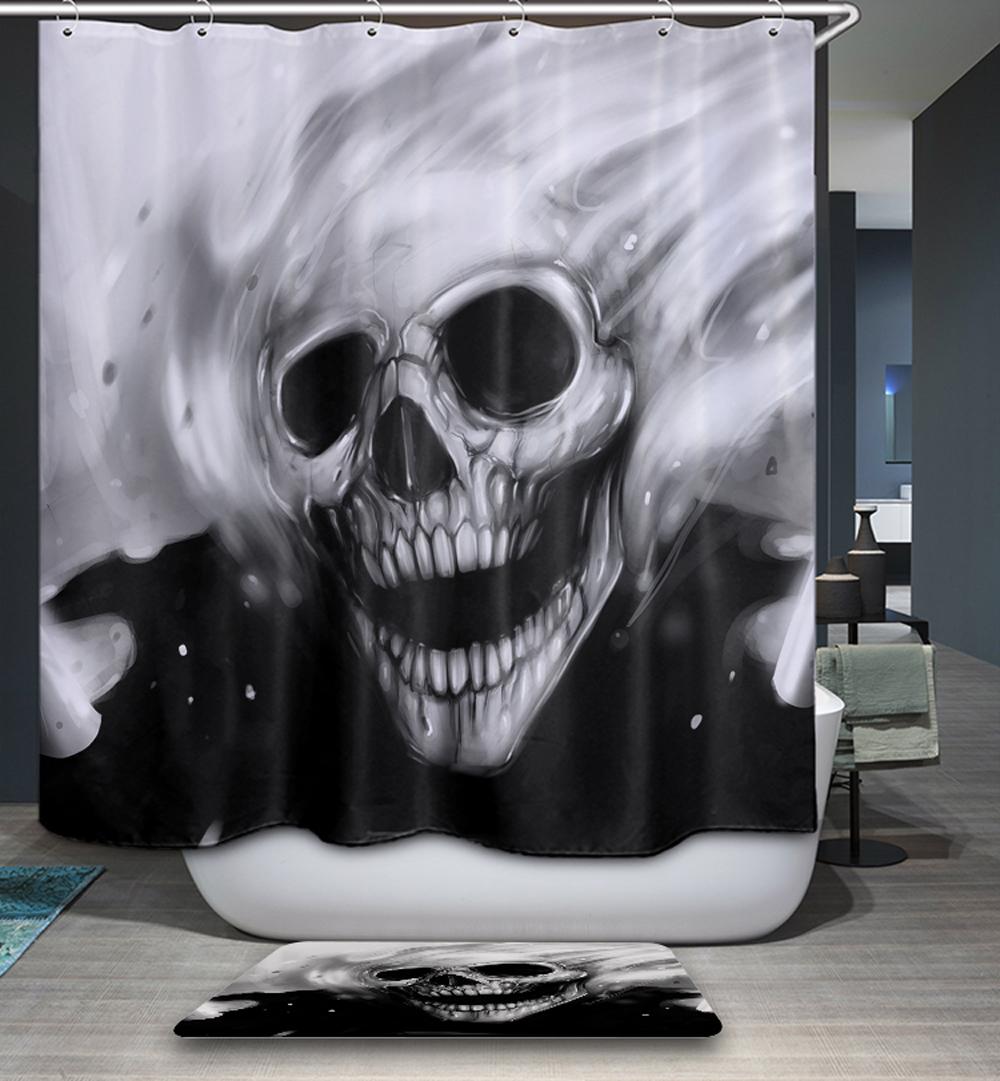 Halloween shower curtain hooks - Comwarm Teen 3d Creative Polyester Fabric Waterproof Mildew Resistant Shower Curtain Skull Wolf Modern Bathroom Decorative
