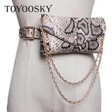 TOYOOSKY Chain Aduit Women 2019 Spring Autumn Solid Color Belt Female Snake Pattern Crocodile Mini Pocket Waist
