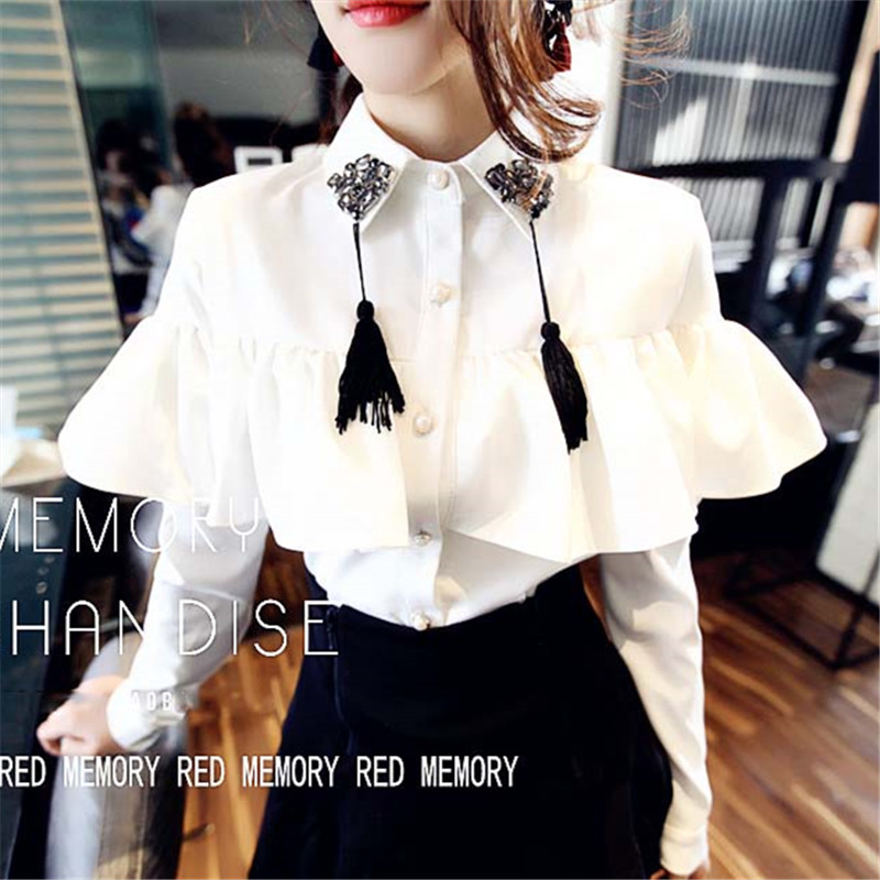 Women's Clothing High Waist Half Skirt Fishtail Skirt Two-piece Set Hand Nail Drill Lotus Leaf Edge Tassel Shirt