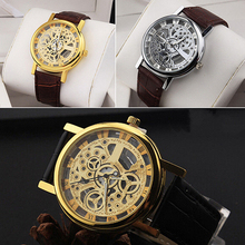 Unisex Vintage Hollow Roman Numeral Dial Faux Leather Band Wrist Watch Gift