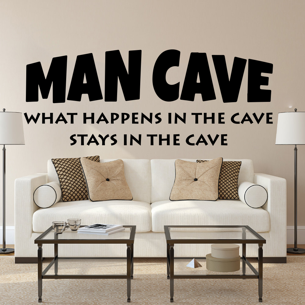 Man Cave Wall Sticker Boy Room Kids Room What happens in the cave stays in the cave Inspirational Quote Wall Decal Bedroom Vinyl 1
