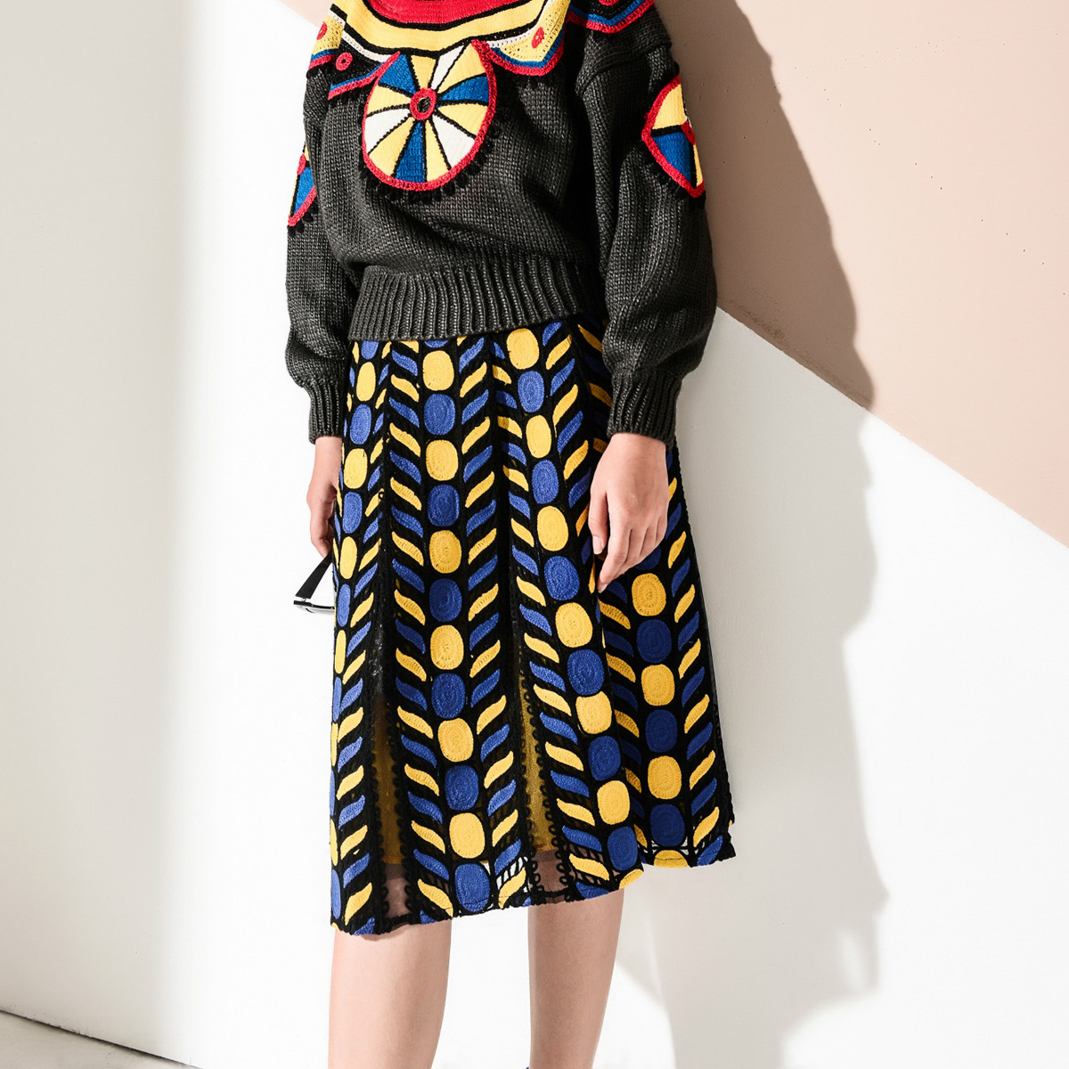Women Skirt New Cross Border Special Geometric Heavy Long Skirts mesh lace Saias Na Altura Do Joelho Pleated Skirt Ladies Skirts