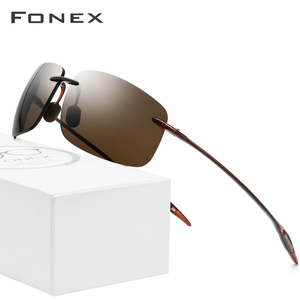 Image 1 - FONEX Ultem TR90 Rimless Sunglasses Men Ultralight High Quality Square Frameless Sun Glasses for Women Nylon Lens 1607