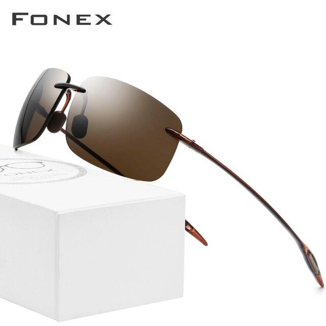 FONEX Ultem TR90 Rimless Sunglasses Men Ultralight High Quality Square Frameless Sun Glasses for Women Nylon Lens 1607