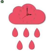 Wall Clock Watch Cloud Creative Home Cartoon living Room Popular Style Acrylic Childrens clocks Decor