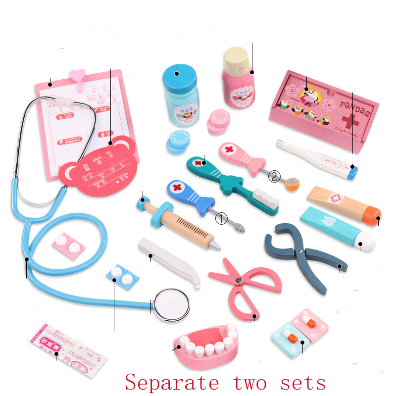 Baby Play dentist doctor's kit for children dental toys Pretend Plays toys wood Simulation Medicine Toys Early Education Gifts 1