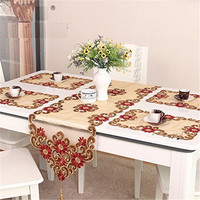 Tablecloth European Flower Luxury Embroidery Lace Tablecloths Organza Cutwork Table Runner Cloth Set Wedding Decoration Cover
