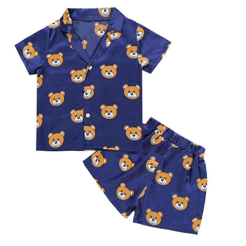 Fashion 2019 summer Children's Causal set t-shirts and shorts boys girls bear pattern Suits pajamas clothes 2pcs Home clothes