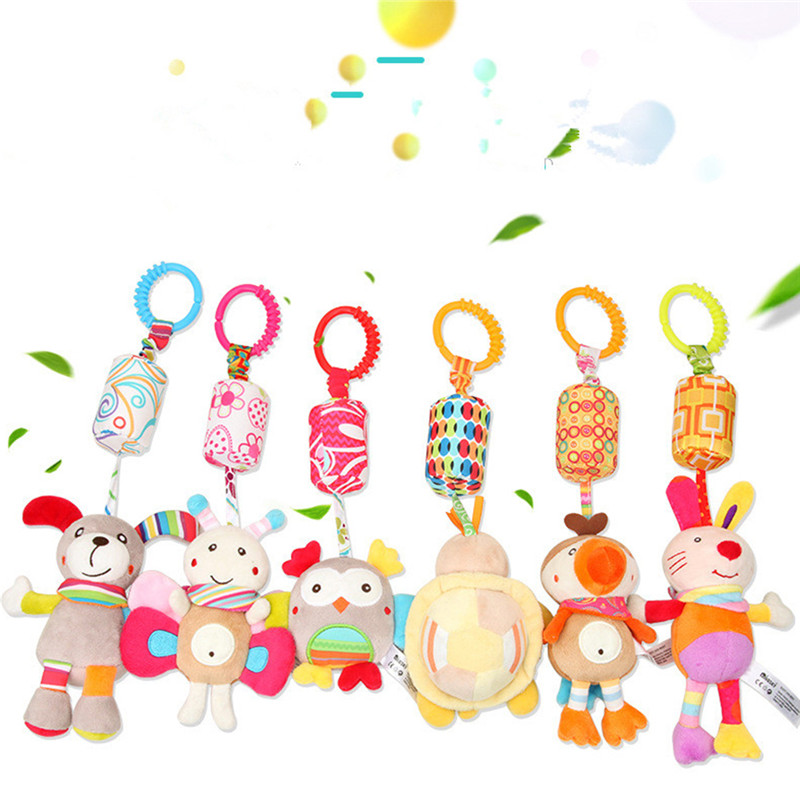 Cartoon Infant Baby Toys Bell Mobile Baby Plush Toy Baby Bed Holder Wind Chimes Rattles Bell Toy Baby Crib Bed Hanging Bells