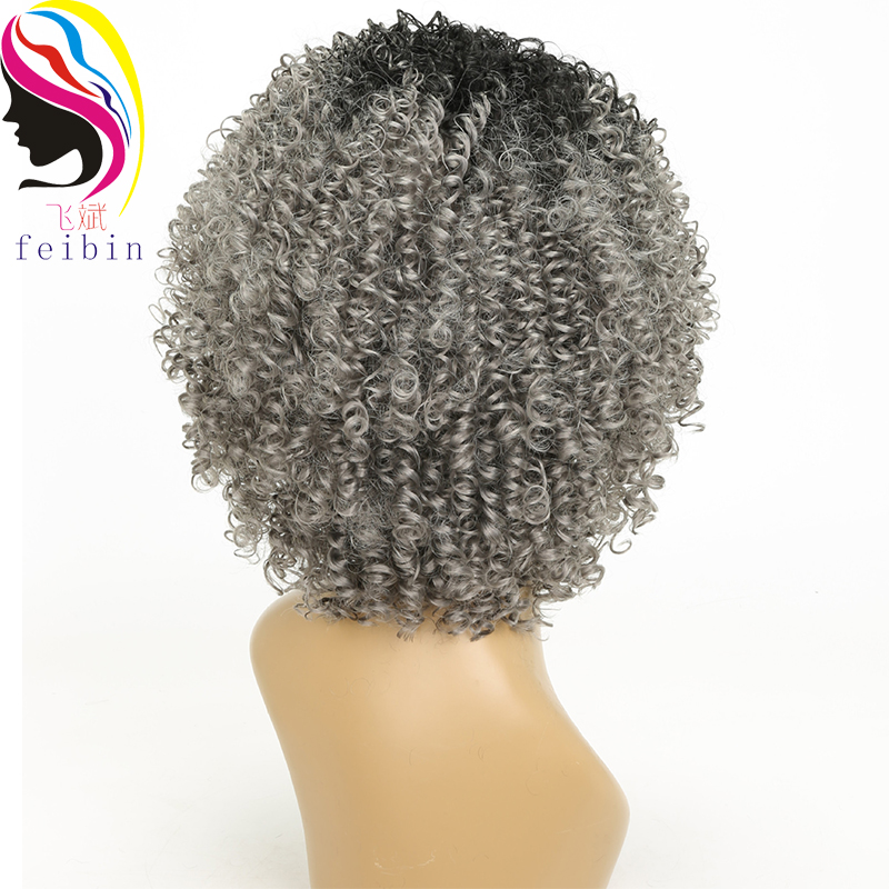 Feibin Afro Kinky Wig Curly Wigs Synthetic Short Wig for Black Women Short Hair Ombre Hair 14 Inch in Synthetic None Lace Wigs from Hair Extensions Wigs