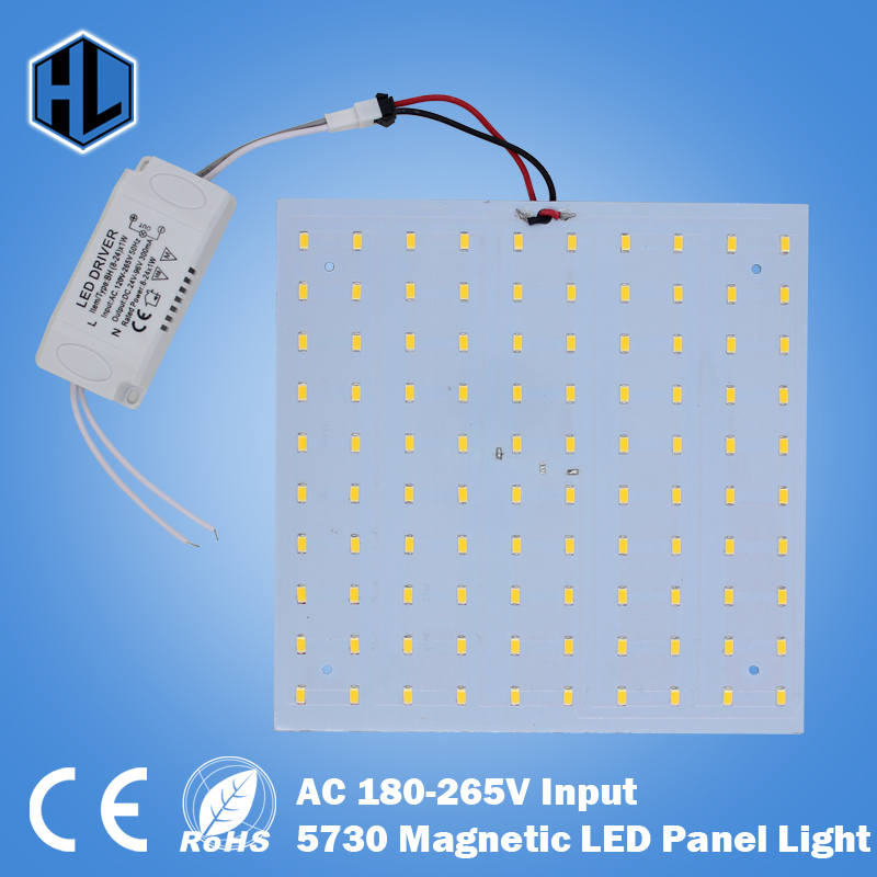Free Shipping  Aluminium Board 180-265V Square LED Panel 10W/15W/18W/20W/25W/35W 5730 Magnetic LED Ceiling Panel Light Plate