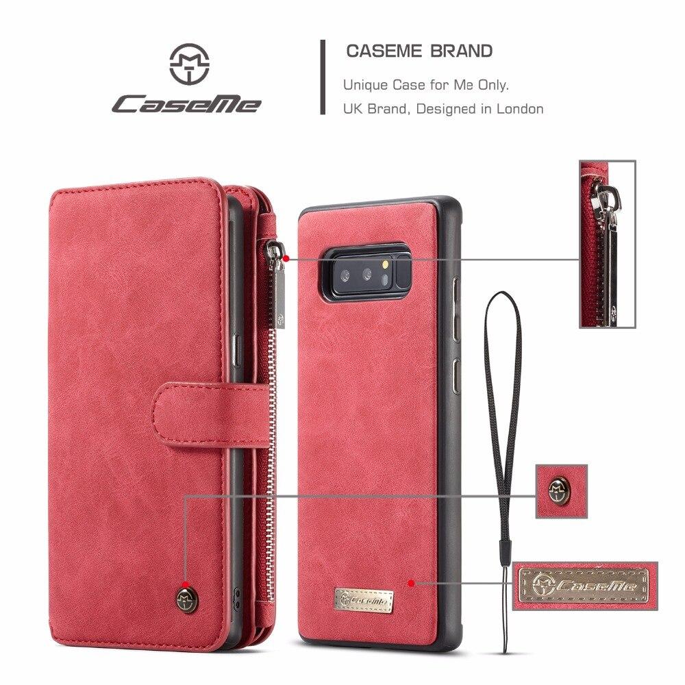 Caseme Многофункциональный 14 слотов для карт на молнии сумка кожаный бумажник чехол для Samsung Galaxy Note 8 Съемная задняя ТПУ крышка