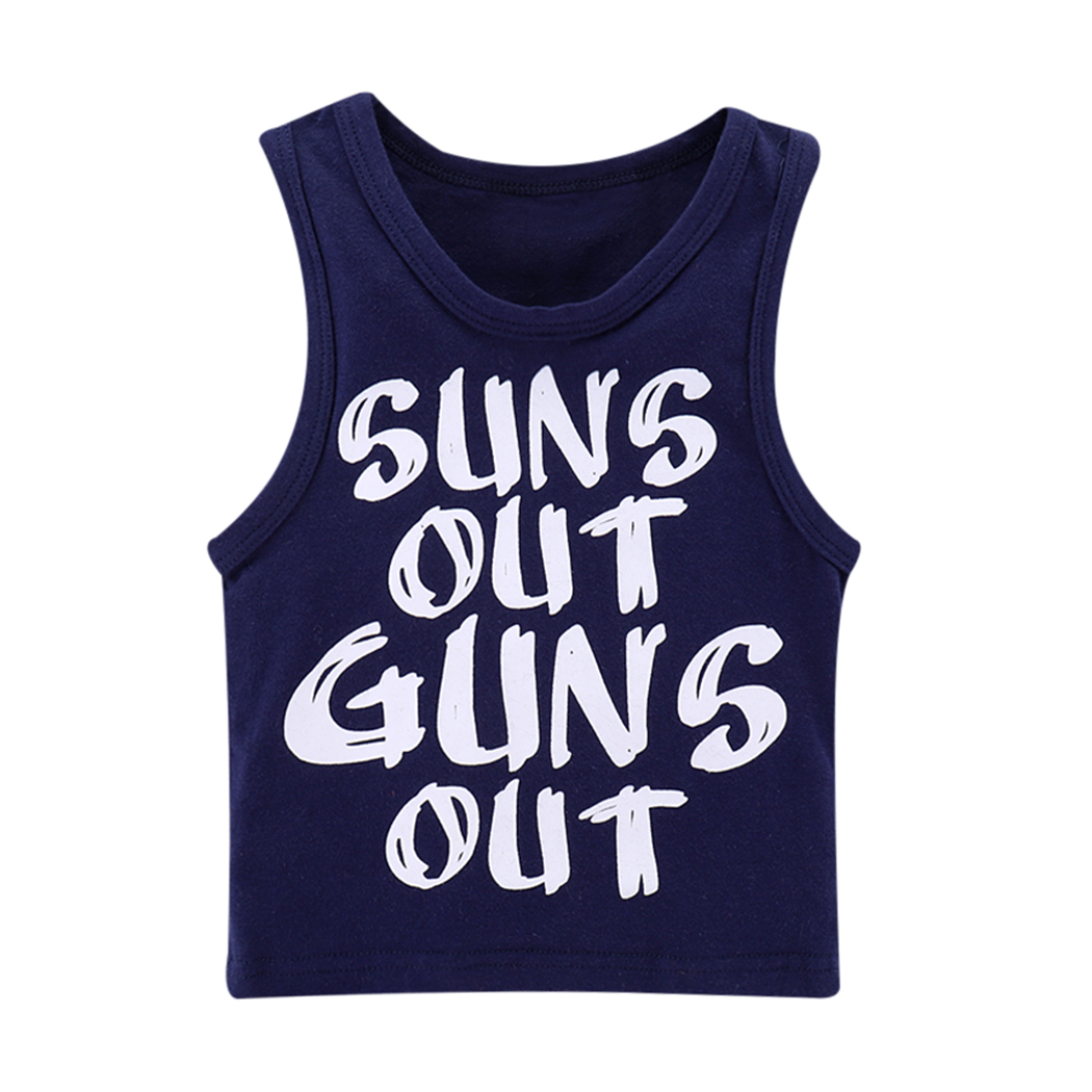Agressief 2018 Cool Baby Jongens Blauw Letters Gedrukt Sleeeveless Vest Peuter Zomer Suns Out Guns Out Tank Top T-shirt Vest Tee Top