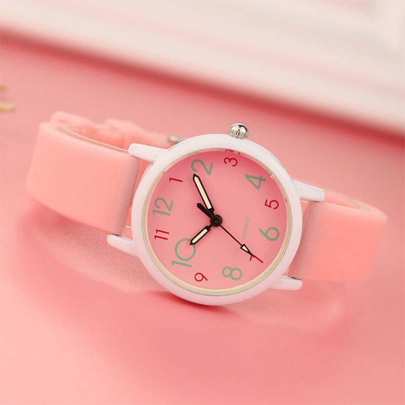 Fashion Watch Trend Luminous Strap Children Girls Students Ordinary Waterproof Slim Watch Female  Electronic Clock  Quartz Watch