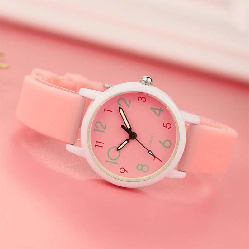 Trend Luminous Strap Korean Children Girls Students Ordinary Waterproof Slim Watch Female  Electronic Clock  Quartz Watch