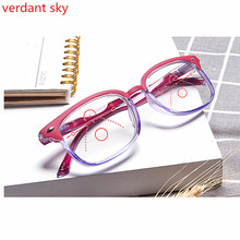TR90 Blue light Multifocal Progressive Reading Glasses Women Men Optical Hyperopia Presbyopia Eyeglasses Diopter Near Far +1.0 hot sale women reading glasses cat eye bifocal reader progressive multifocal lens diopter eyeglasses for near and far distance