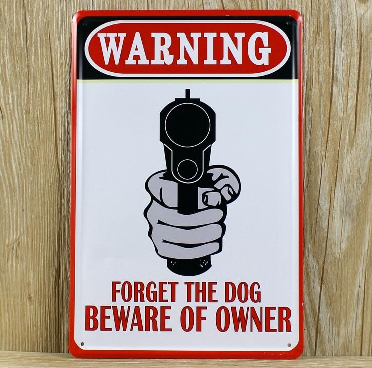 RZXD-054Vintage Олово Знаки Предупреждение забудьте собака Остерегайтесь Владелец жести Металл живопись для бара украшения обои art20x30CM