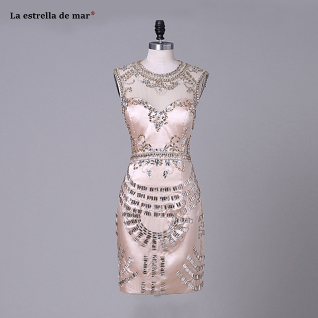 Vestidos coctel mujer 2018 sexy V neck satin Tea Length golden cocktail dresses real photo short formal dress