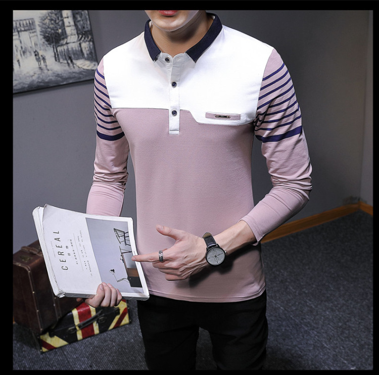 Business Casual Long Sleeve Men Polo Shirt Striped Autumn Winter Polos Cotton Slim Fit Camisa Polo Masculina 81