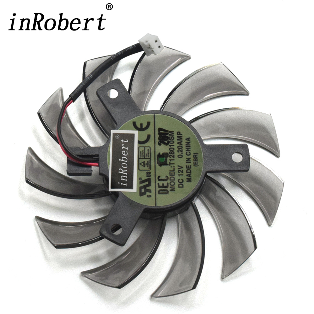 New 75mm Everflow T128010SM 2Pin 2 Wire DC 12V 0.20A Cooler Fan Replace Gigabyte Radeon R9 270X 280X Graphics Video Card Fans