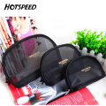 Women Transparent Makeup Bag Cute Black Mesh Pouch Beauty Beautician Travel Vanity Trolley Organizer Makeup Cosmetic Bag