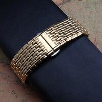 Quarz armband dünner Uhr zubehör armband Gold edelstahl uhrenarmbänder fit herren frauen stunden ersatz 18mm 20mm-in Uhrenbänder aus Uhren bei