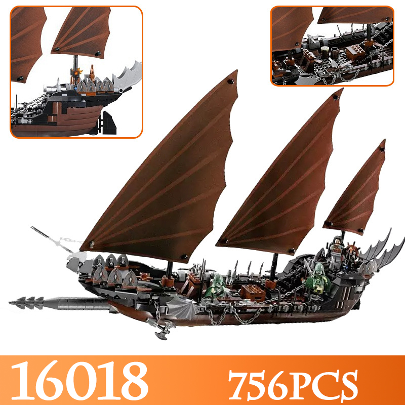16018 756pcs The Lord Of Rings Movie The Ghost Pirate Ship Model Building Blocks Bricks Enlighten Figure Toys Compatible LegoED цены онлайн