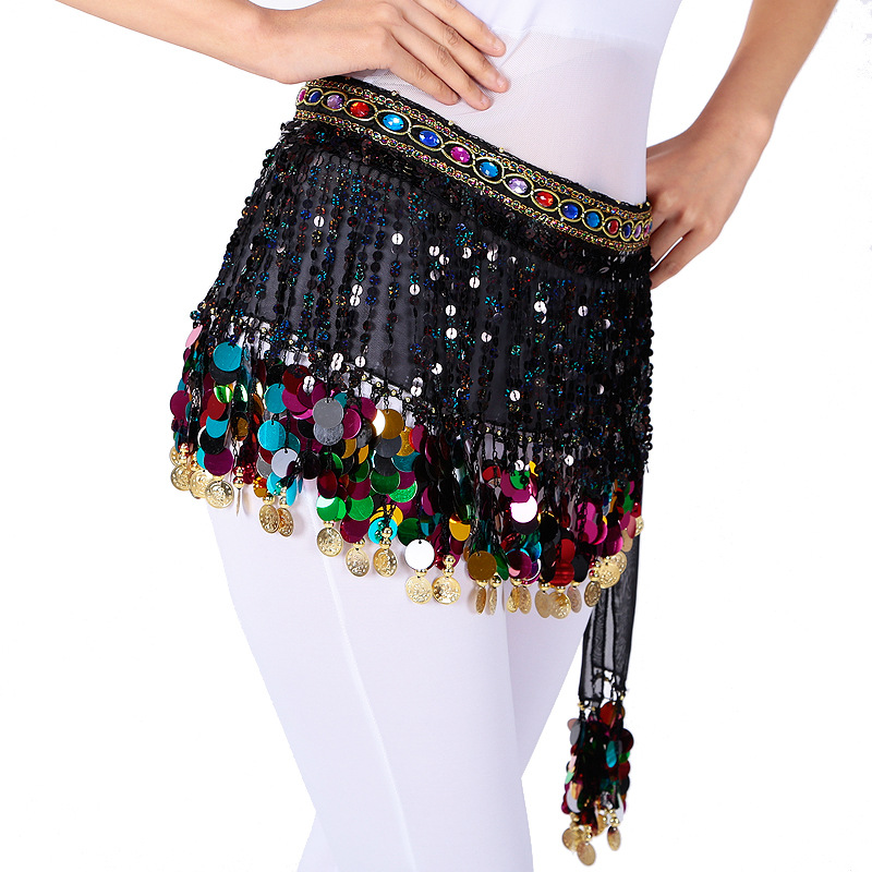Belly Dance Belt With Colorful Coins Women Clothes 2019 Dance Prop Bellydance Tassel Hip Scarf Bellydance Belt  Oriental Dance