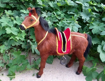 simulation horse with saddle hard model prop large 45x42cm plastic&real furs brown horse ,home decoration toy gift s1772