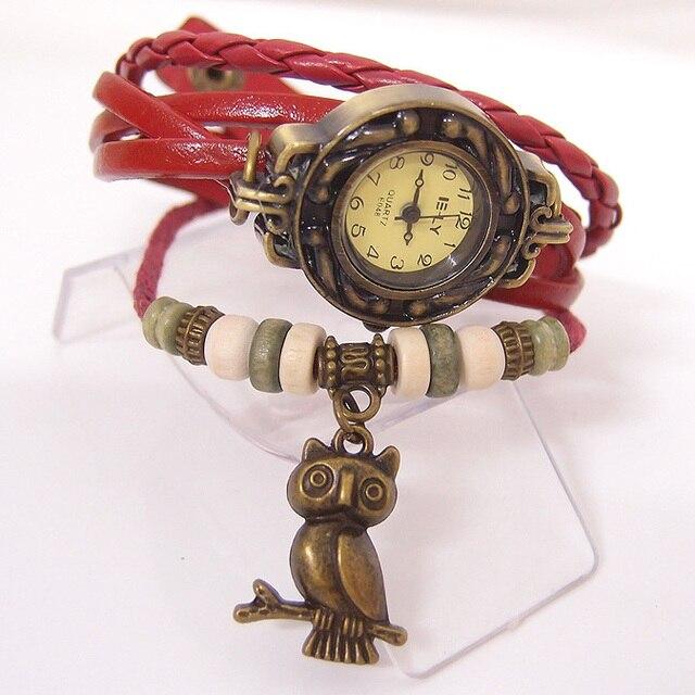 Vintage жіночий одяг Кварцові годинники жінки Сова Підвіска пункт годин Бісеру Браслети наручні годинники V5331