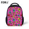 Personalizar bolsos de escuela los niños para las muchachas 3D Pink Skull impreso escuela de los niños Bolsas Infantil Kindergarten pequeña bolsa Casual
