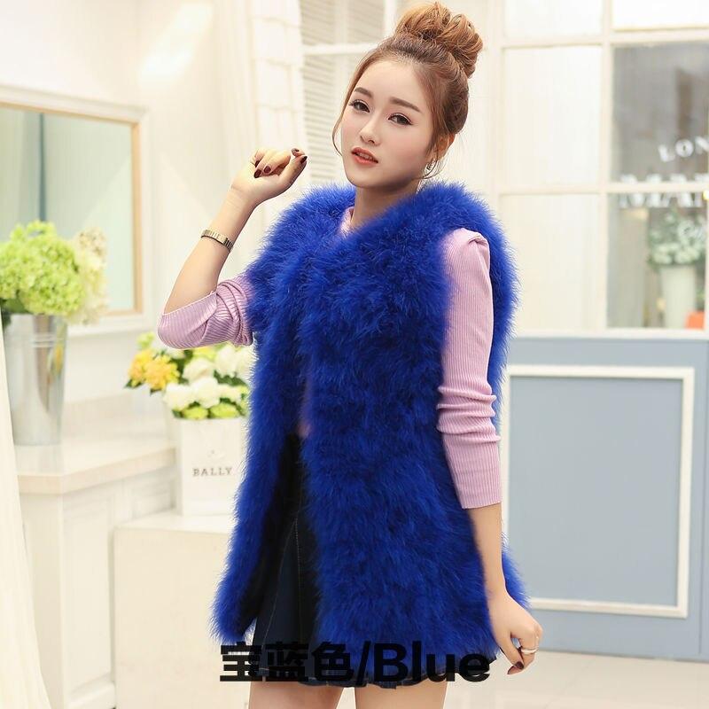 Новое поступление Винтажный стиль настоящий вязаный жилет из меха страуса жилет из натурального меха - Цвет: blue