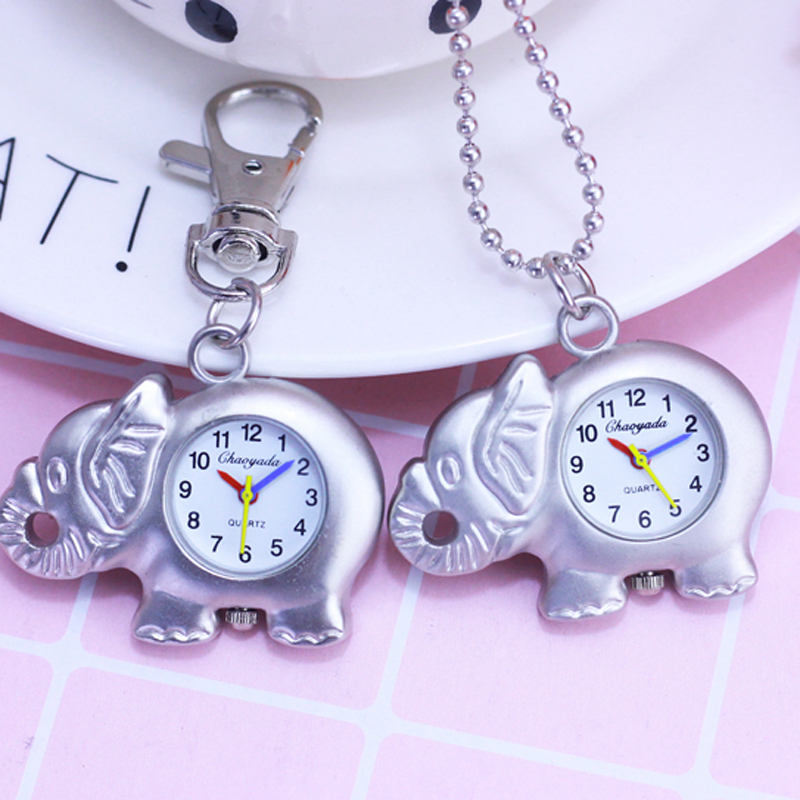 Chaoyada Silver Cartoon Animal Elephant Activity Pocket Watch Key Chain Hanging Chain Necklace Watch