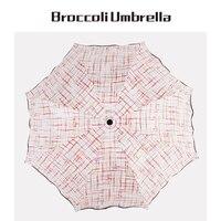 Color Grid Line 3 Folding Personality Umbrella Creative Sun Shading Umbrella Rain Women