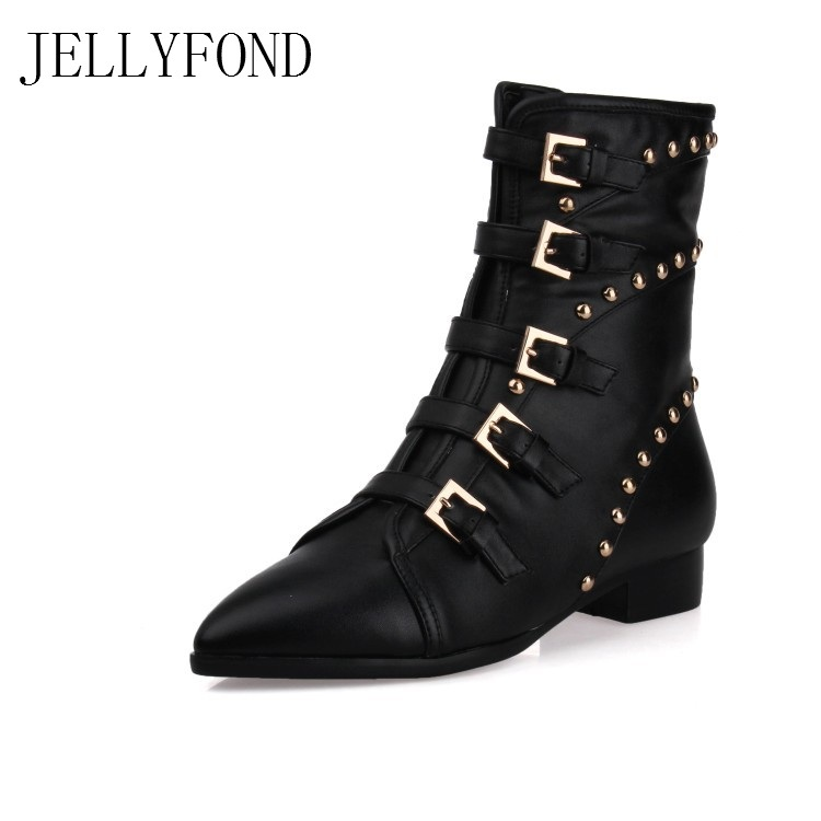 JELLYFOND Studded Genuine Leather Women Ankle Boots Pointed Toe Buckle Strap Rivets Flat Riding Boots Runway Shoes Woman Black women black shoes sheepskin genuine leather women shoes suede pointed toe rivet solid color buckle ladies causal ankle boots