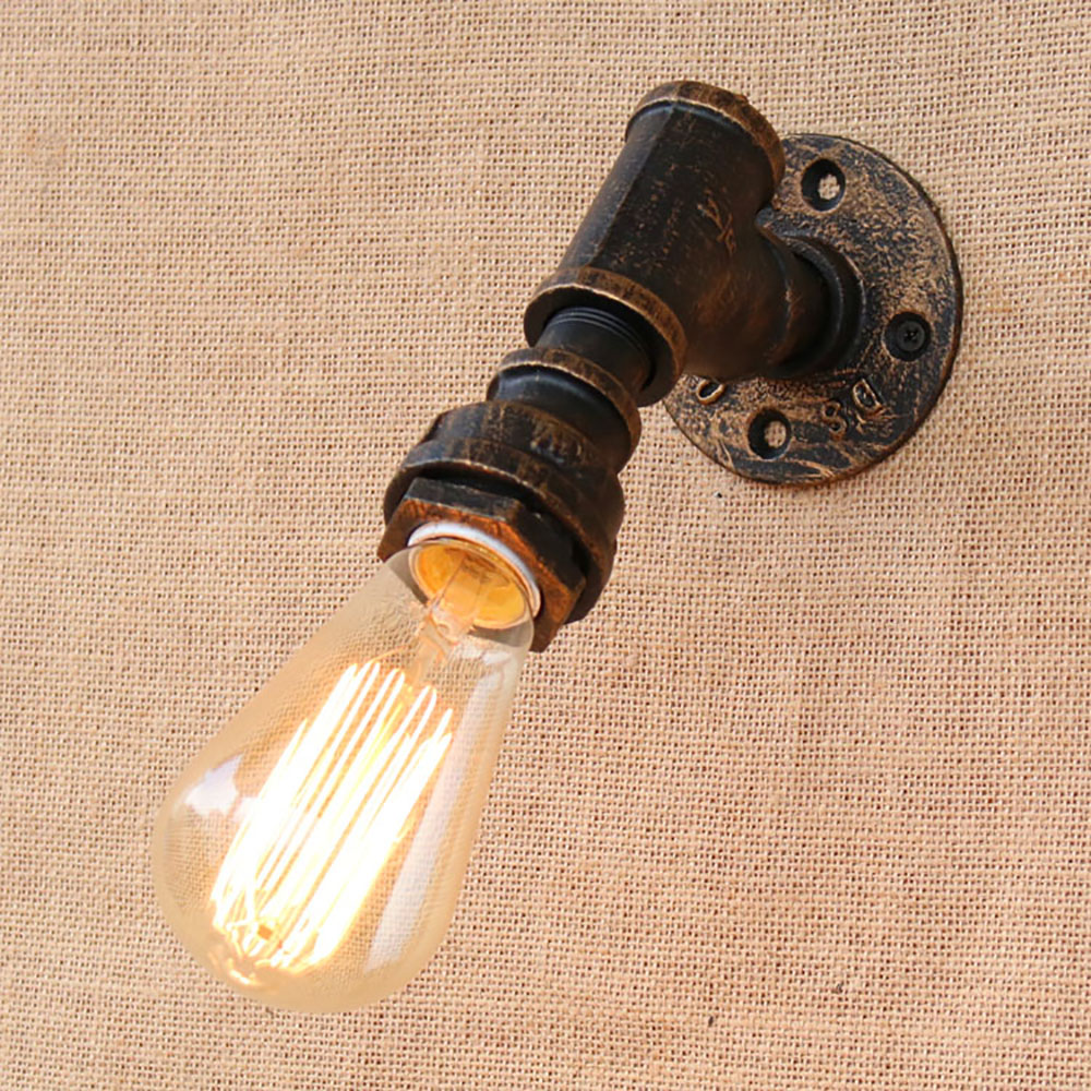 Brief iron Water pipe vintage loft wall lamp bedside with