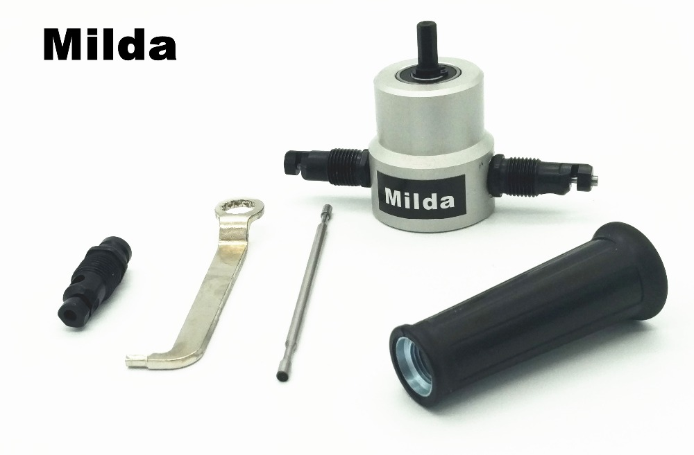 Milda Electric Nibble Metal Cutting Double Head Sheet Nibbler Saw Cutter Tool Drill Attachment Cutting Tool Nibbler Sheet