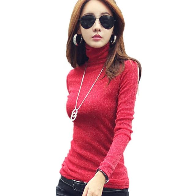 7ee80f99a8b42e High Collar Mesh Cotton T-shirt Winter Basic Shirt Women Clothing Plus  Velvet Solid Color Ladies T-Shirt Plus Size S-3XL