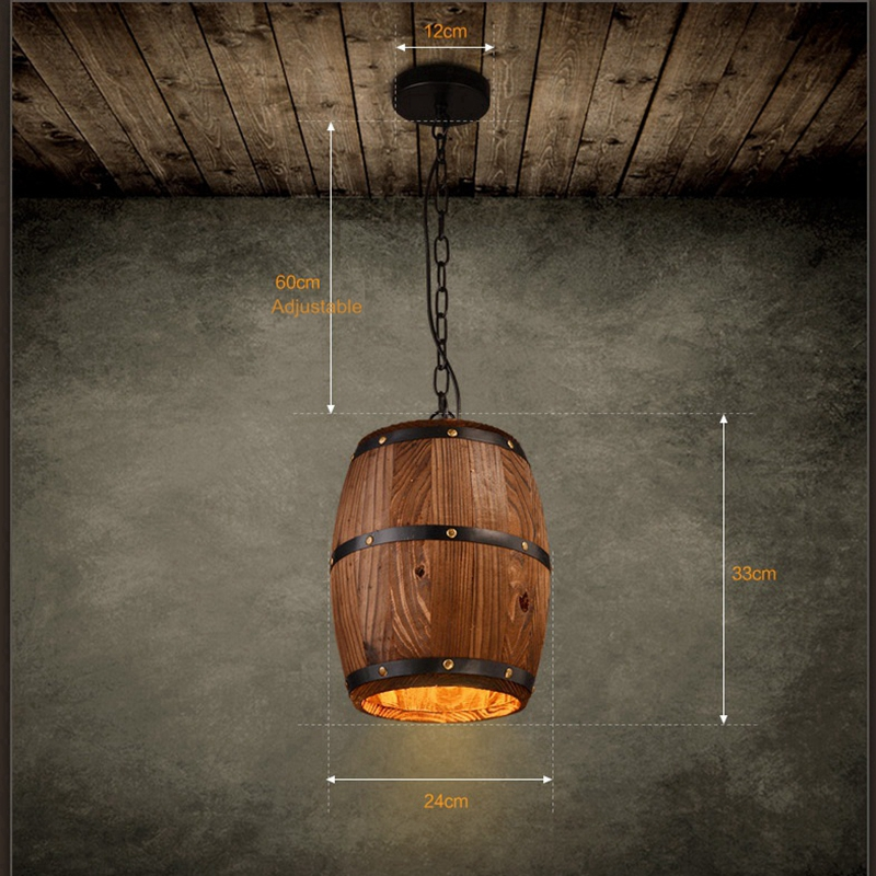 все цены на LuKLoy Pendant Lights Lamp Shade, Industrial Vintage Wood Barrel Retro Pendant Lamp Light for Bar Shop Cafe Dining Room Decor