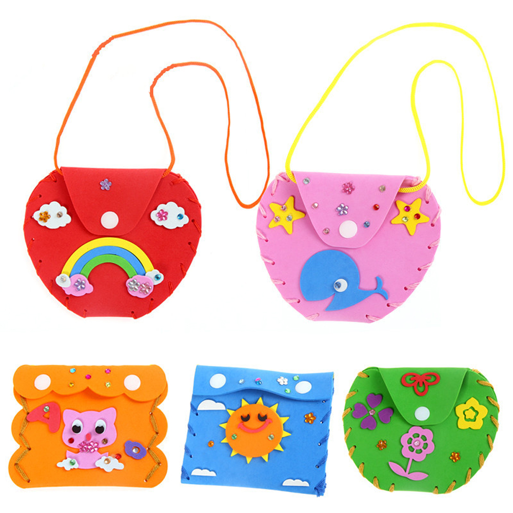Kids 3D EVA Wallets Purse Kids DIY Handmade EVA Foam Stickers DIY Craft Toys Puzzle Girls Educational Learning Toys For Children